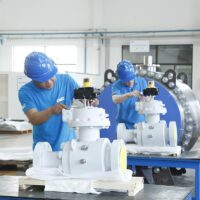 API 6A Trunnion Mounted Ball Valves under assembly in facility in Shanghai, China